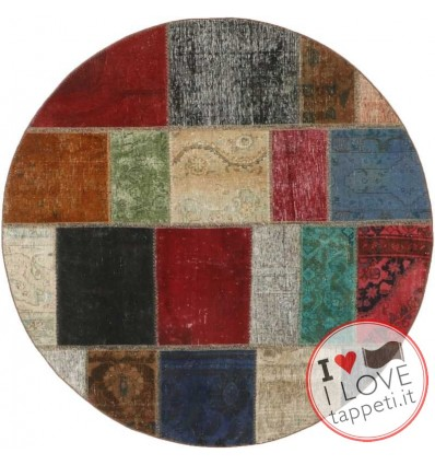 tappeto persia vintage patchwork cm 150x150