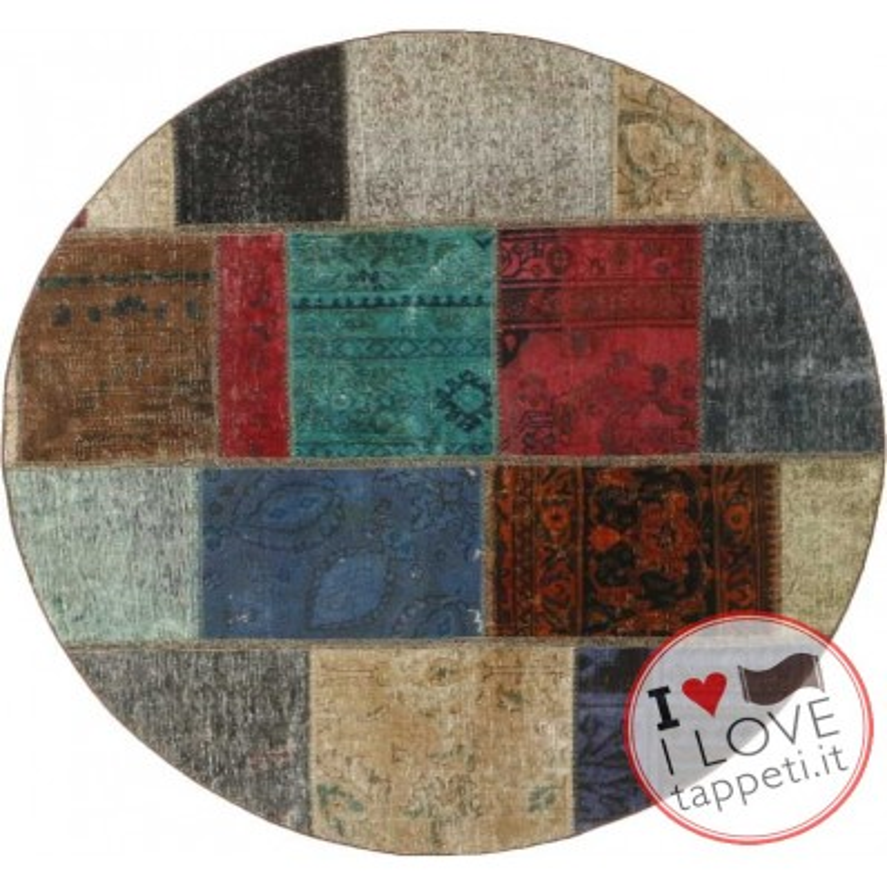 tappeto persia vintage patchwork cm 150x150