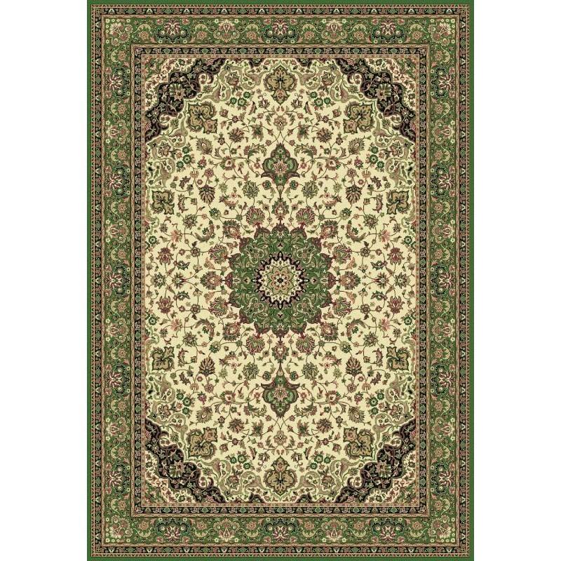 Tappeto persiano Isfahan classico medaglione crema-verde 12217