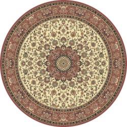 Carpet classico Isfahan classico rotondo medaglione crema-rosa 12217