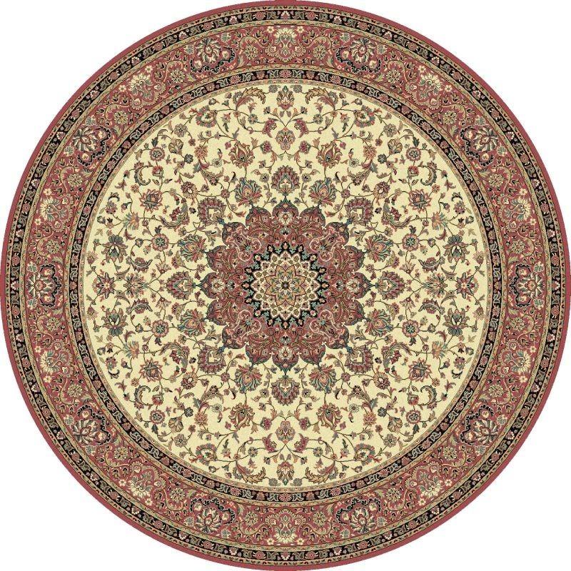 Tappeto persiano Isfahan classico rotondo medaglione crema-rosa 12217
