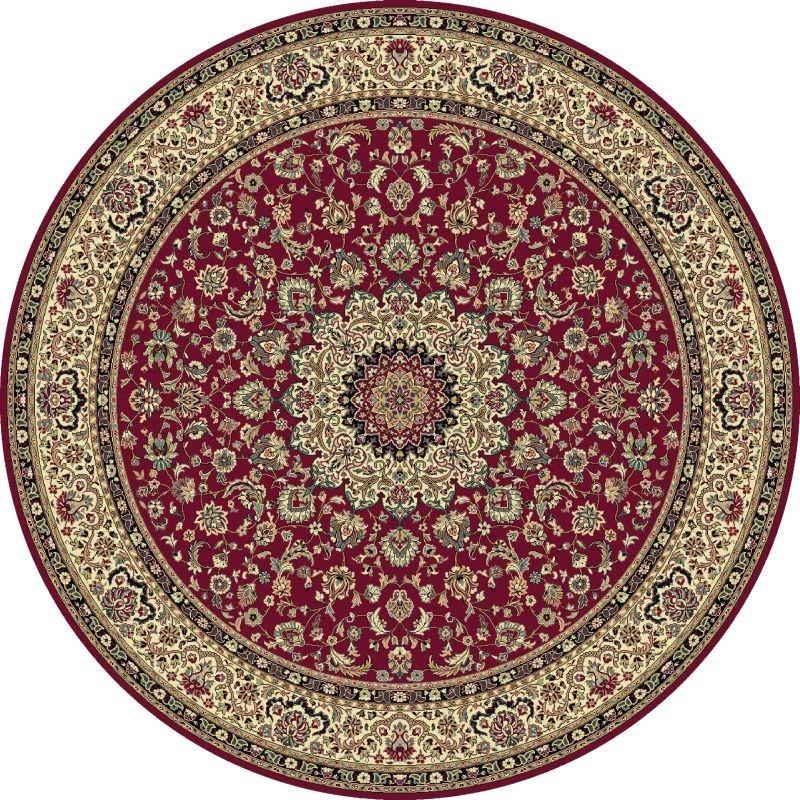 Tappeto persiano Isfahan classico rotondo medaglione rosso 12217