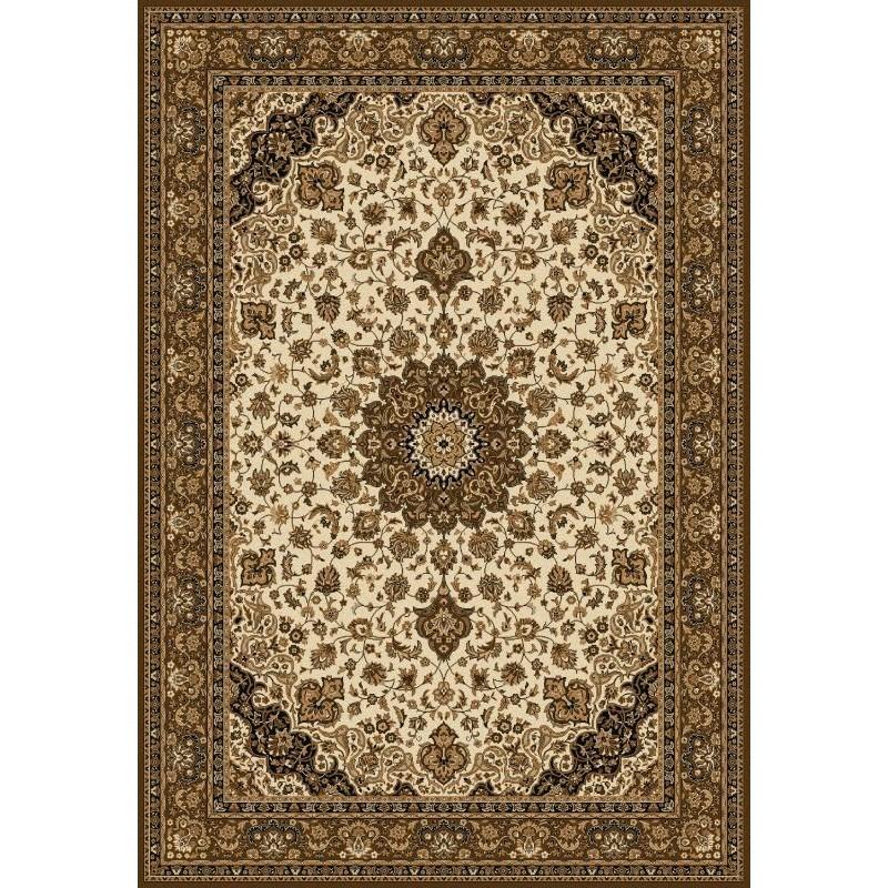 Tappeto persiano Isfahan classico medaglione crema-marrone 12217