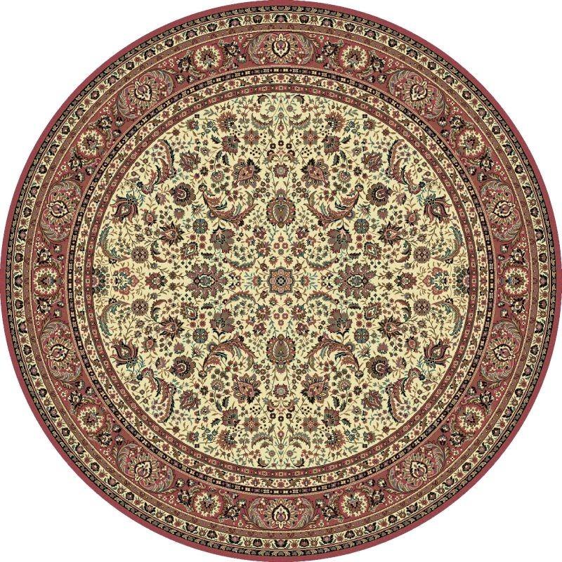 Tappeto persiano Tabriz classico rotondo floreale crema-rosa 13720