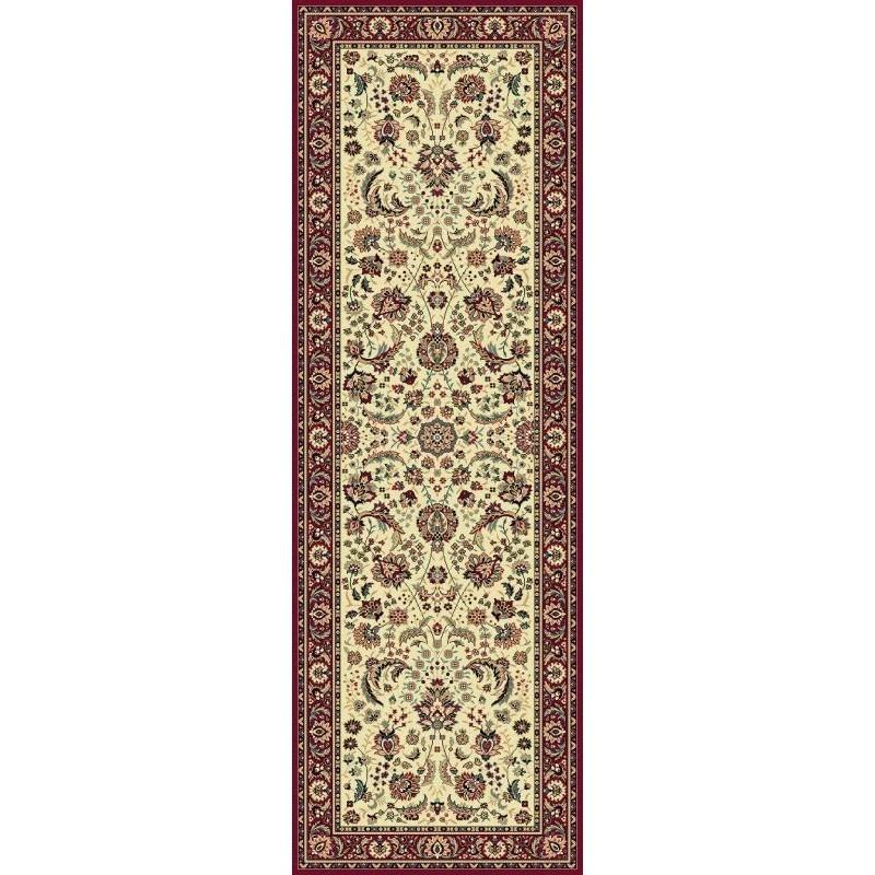 Carpet classico Tabriz classico passatoia floreale crema-rosso 13720