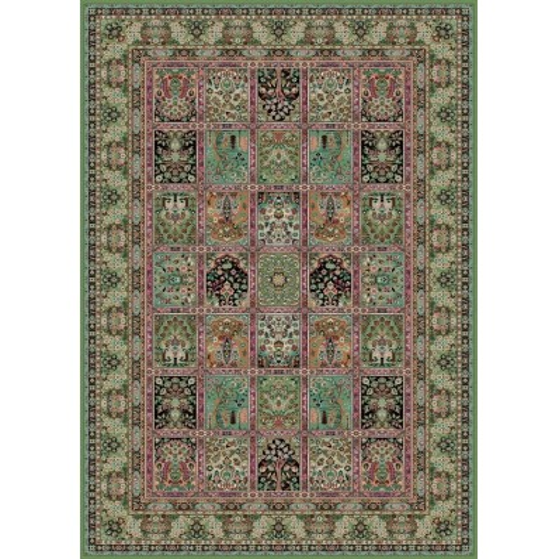 Tappeto persiano Qum formelle lana verde 1258