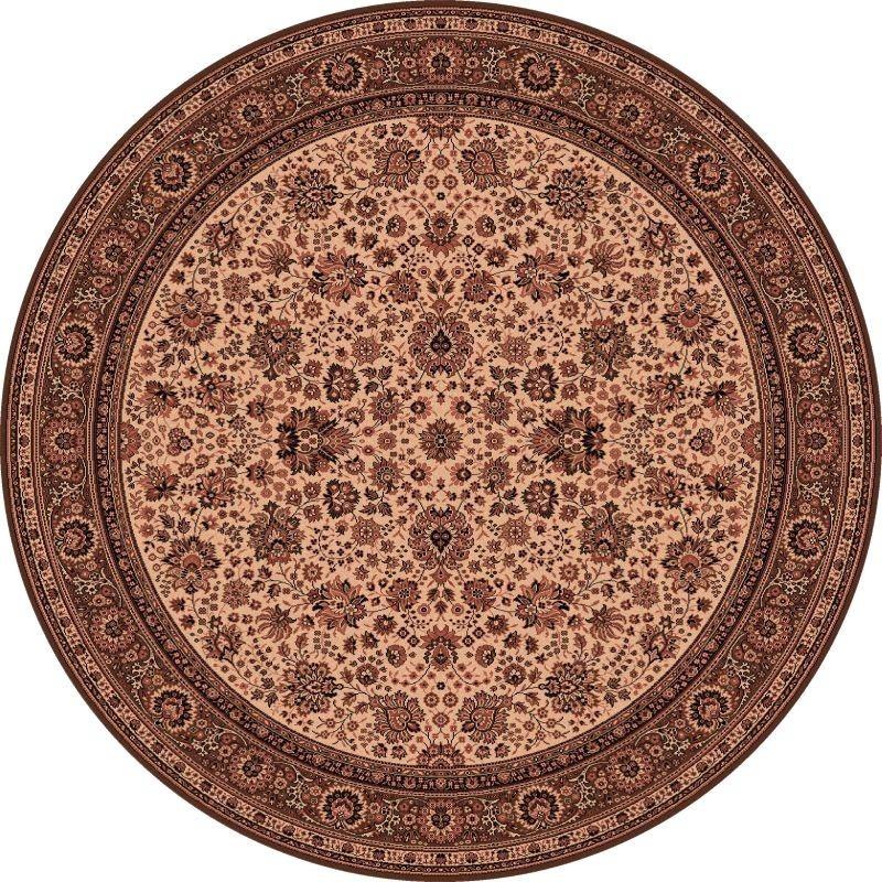 Tappeto persiano Tabriz fine lana rotondo crema-marrone 1570-504
