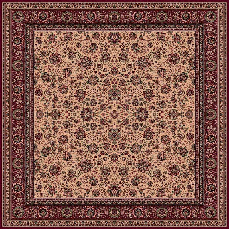 Carpet classico Tabriz fine lana quadrato beige-rosso 1561-505