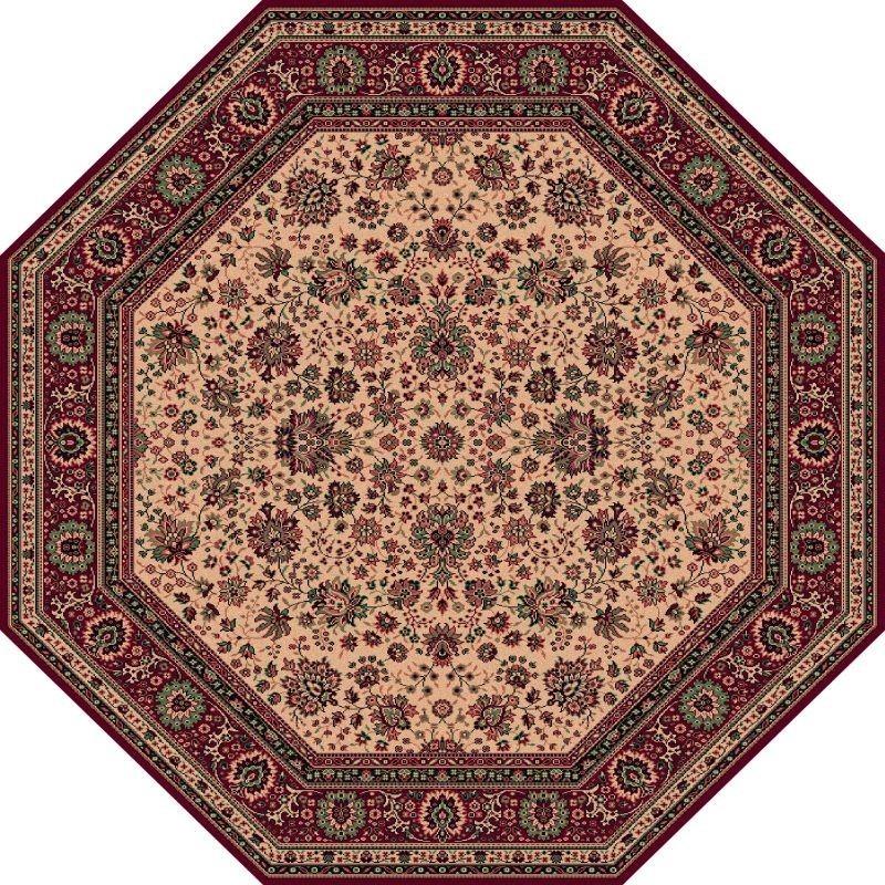 Tappeto persiano Tabriz fine lana ottagonale beige-rosso 1516-505