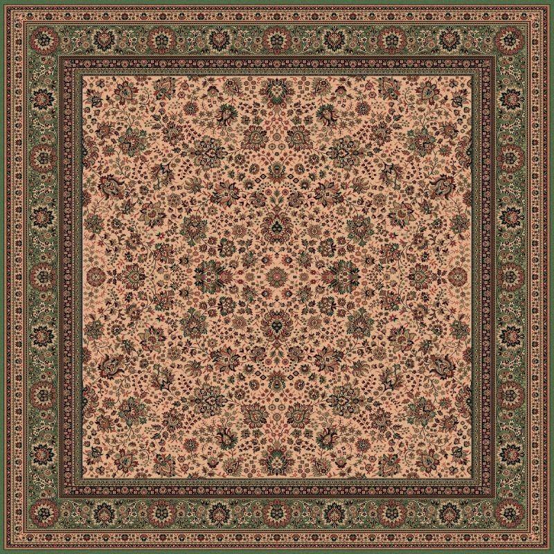 Tappeto persiano Tabriz fine lana quadrato crema-verde 1561-508