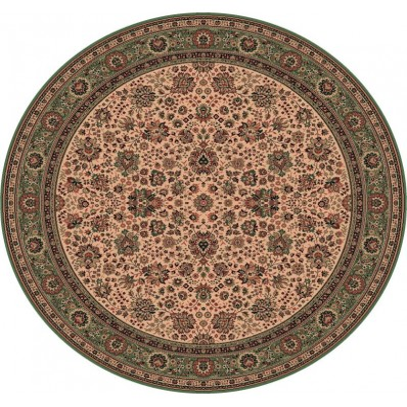 Carpet classico Tabriz fine lana rotondo crema-verde 1570-508