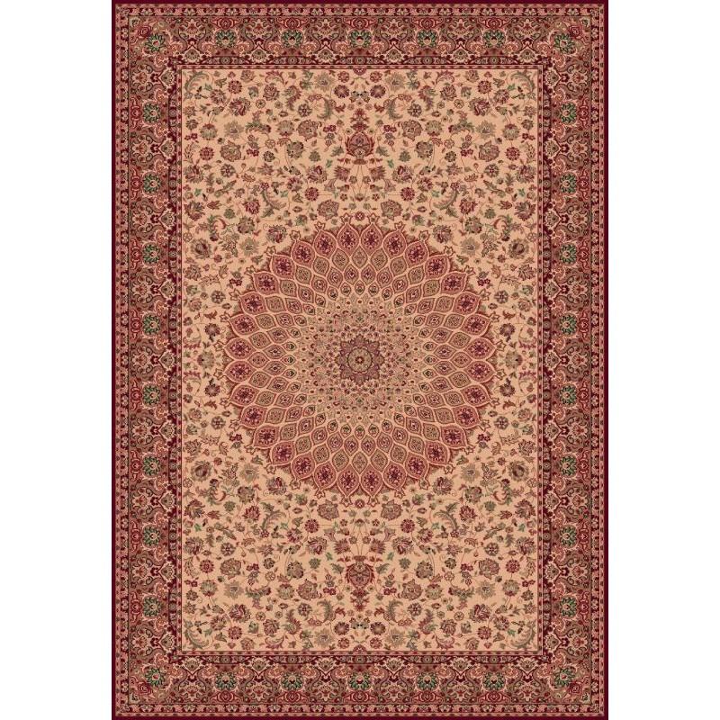 Carpet classico Qum fine lana crema-rosso 1639