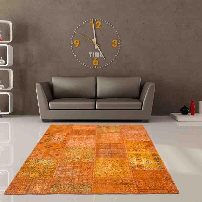 Tappeto moderno soggiorno Atlas patchwork Turchia 560 arancione lana