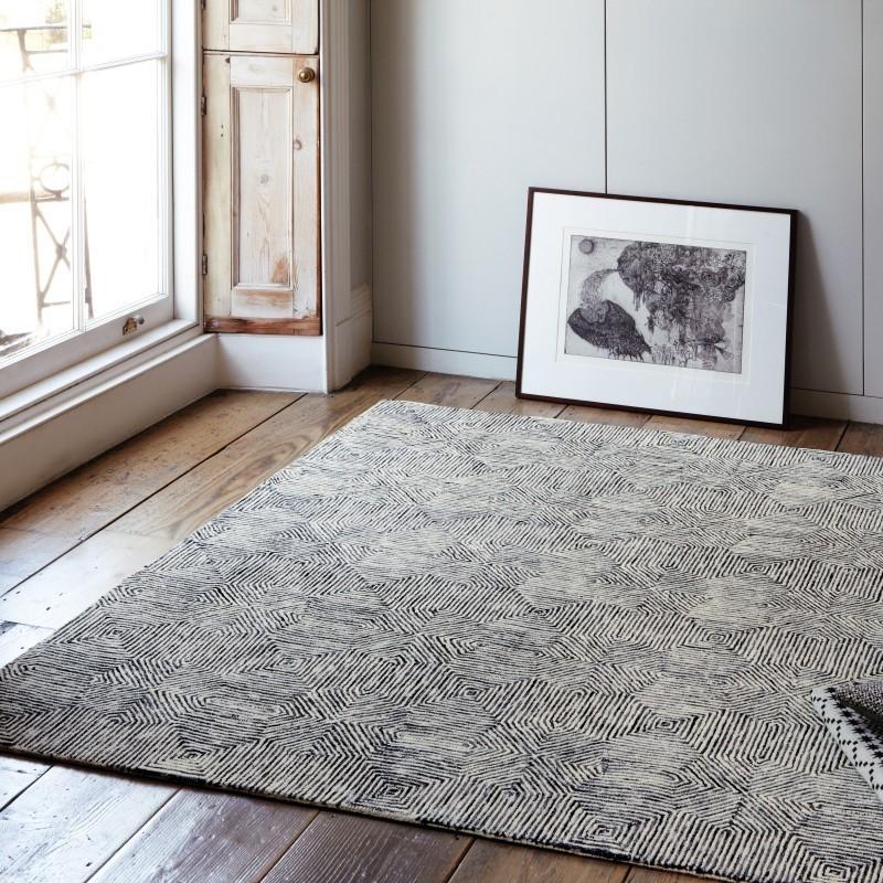 tappeto moderno geometrico Camden Black white lana