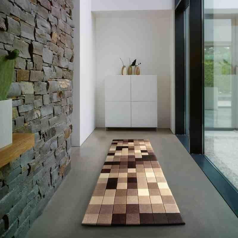 tappeto moderno geometrico Funk natural Boxes passatoia lana