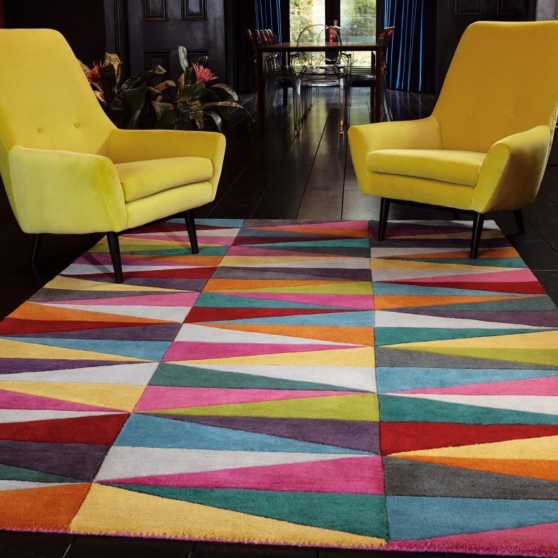 Carpet moderno geometrico Funk Triangles lana