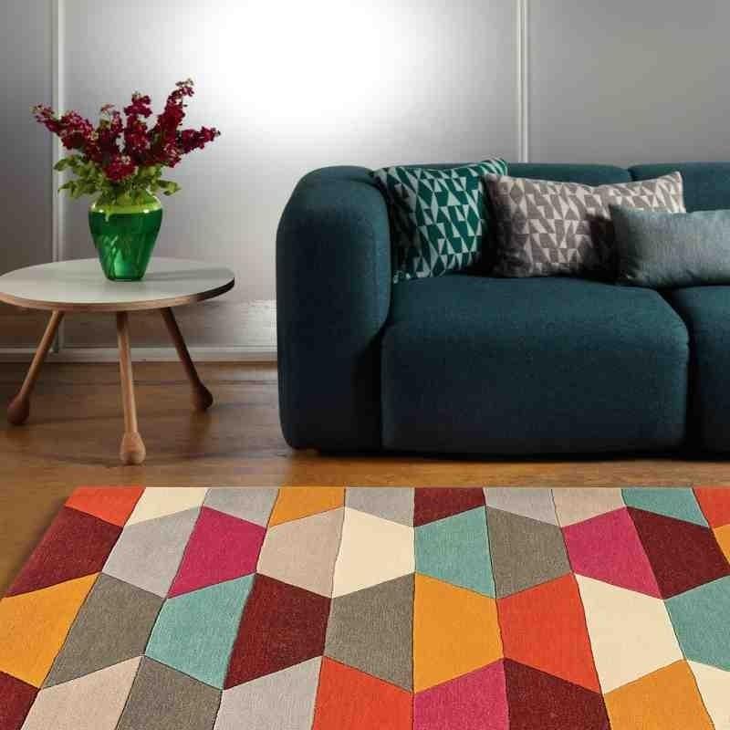 Carpet moderno geometrico Funk Honeycomb Bright lana