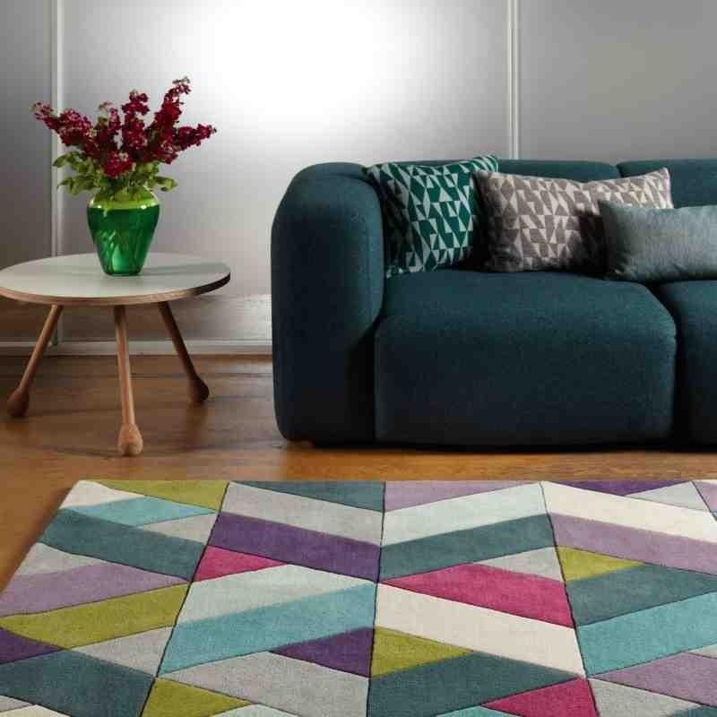 tappeto moderno geometrico Funk Chevron Blue Green lana