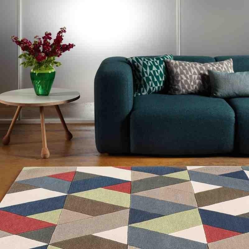 tappeto moderno geometrico Funk Chevron Multi lana