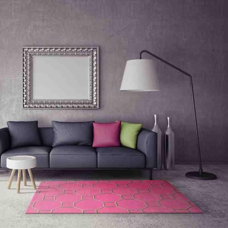 tappeto moderno geometrico Cassin Pink lana
