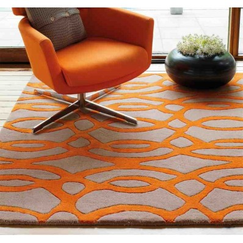 tappeto moderno geometrico Wire Orange lana