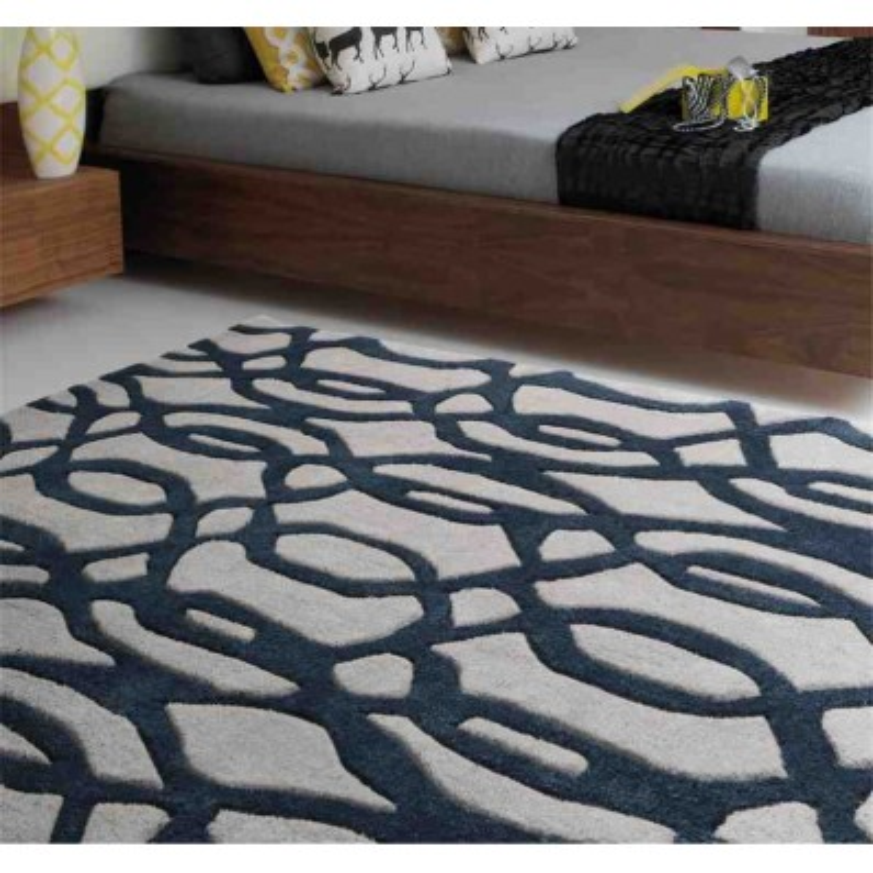 tappeto moderno geometrico Wire Blue lana