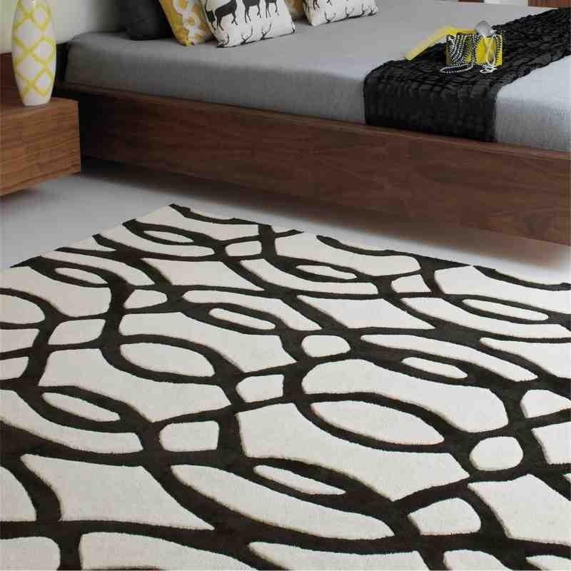 tappeto moderno geometrico Wire Black lana
