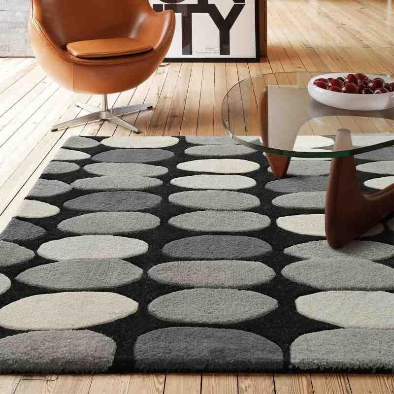 tappeto moderno geometrico Sofia Grey lana