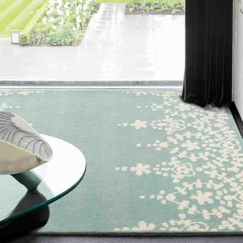 tappeto moderno floreale Guild Blue lana