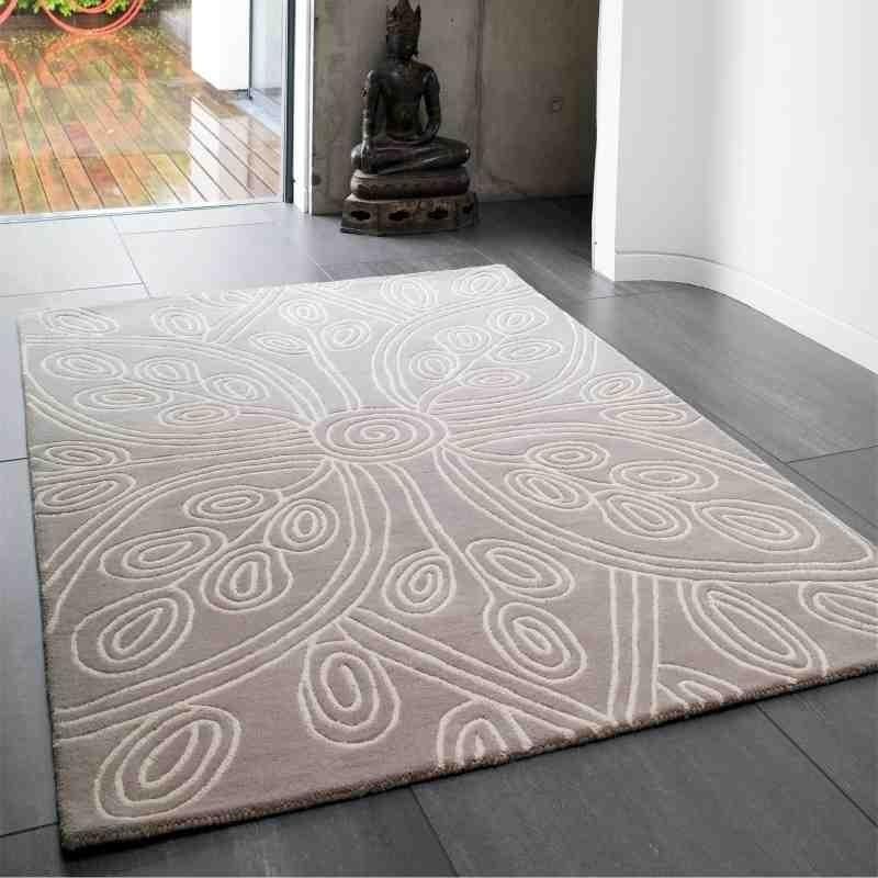 tappeto moderno floreale Kaya Beige lana
