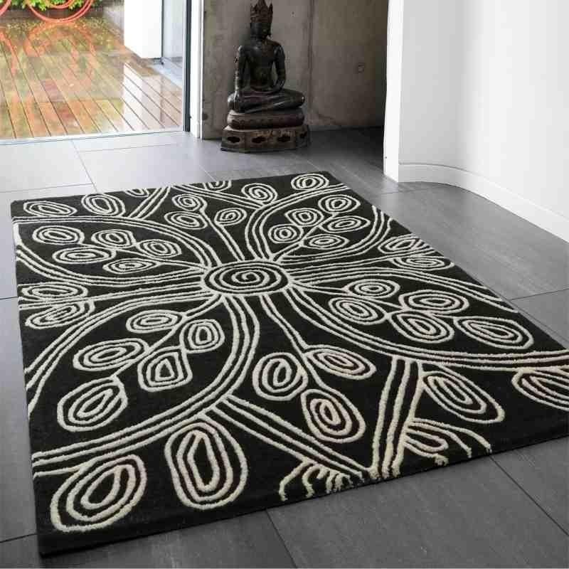 tappeto moderno floreale Kaya Black lana