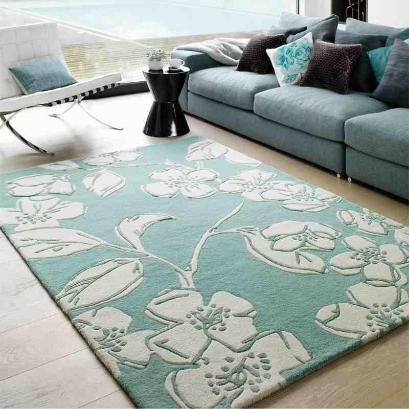 tappeto moderno floreale Devore Blue lana