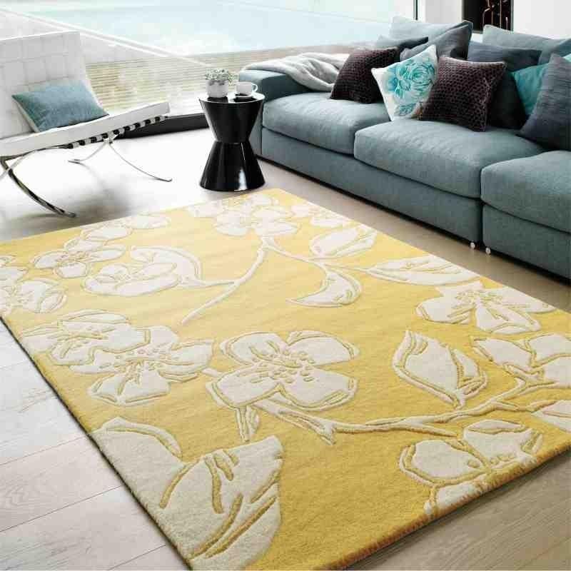 tappeto moderno floreale Devore Yellow lana
