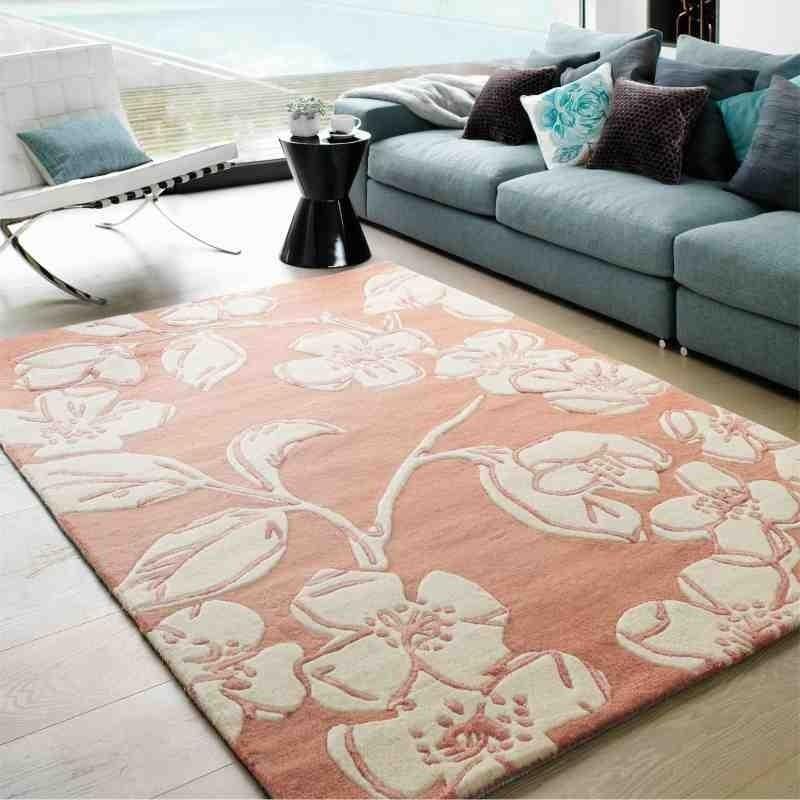 tappeto moderno floreale Devore Pink lana