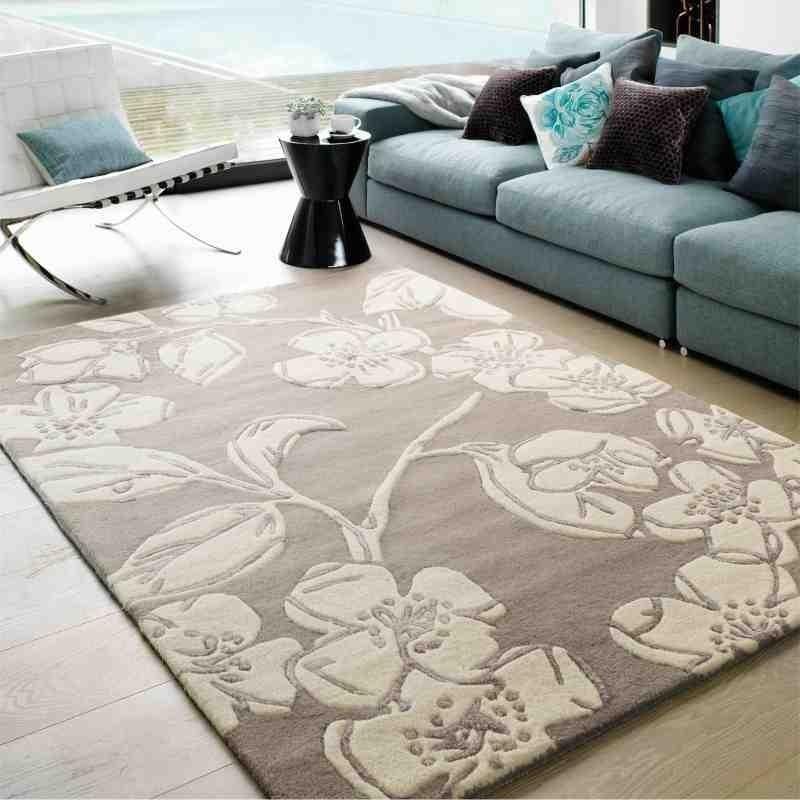 tappeto moderno floreale Devore Taupe lana