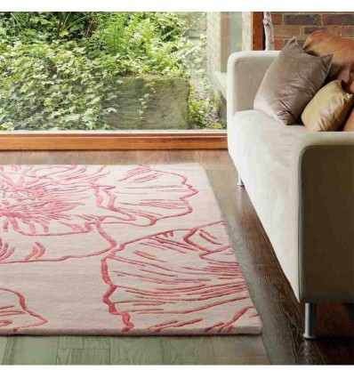 tappeto moderno floreale Liberty Beige-Red lana