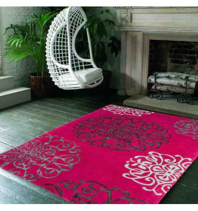 tappeto moderno floreale Tangier Red lana