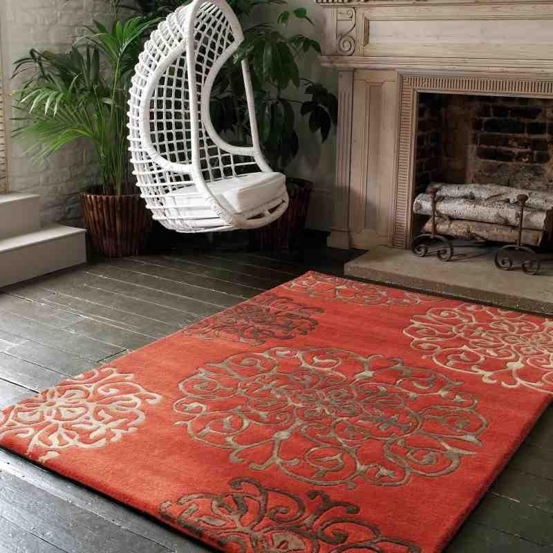 tappeto moderno floreale Tangier Terracotta lana