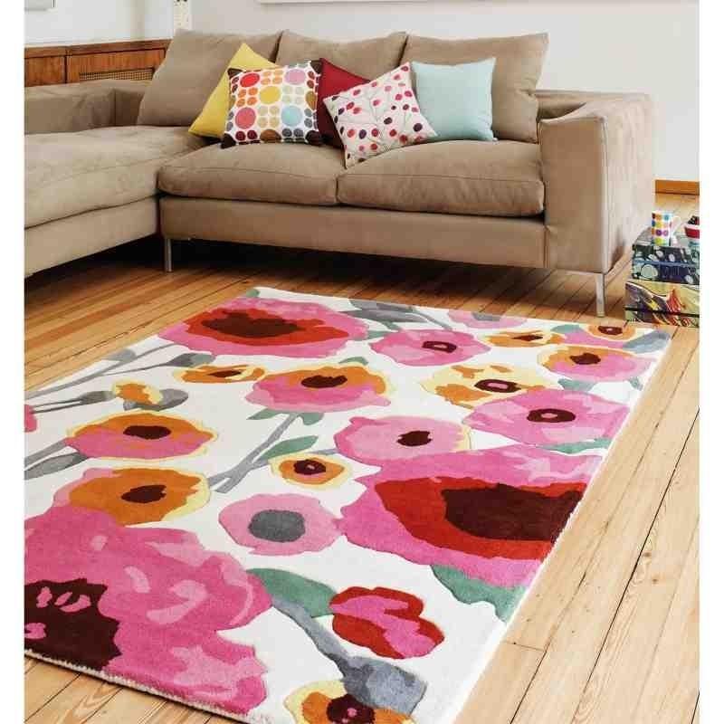tappeto moderno floreale Calisto White Multi lana