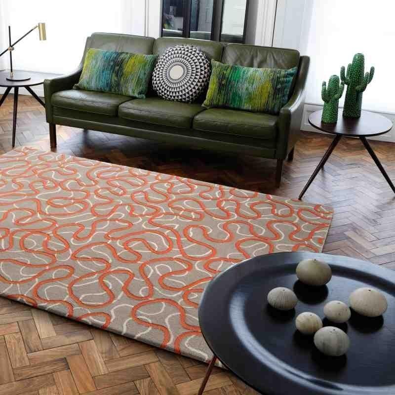 Carpet moderno fantasia Squiggle Orange lana
