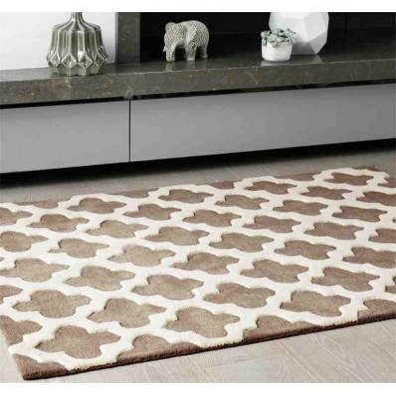tappeto moderno geometrico Artisan Taupe lana