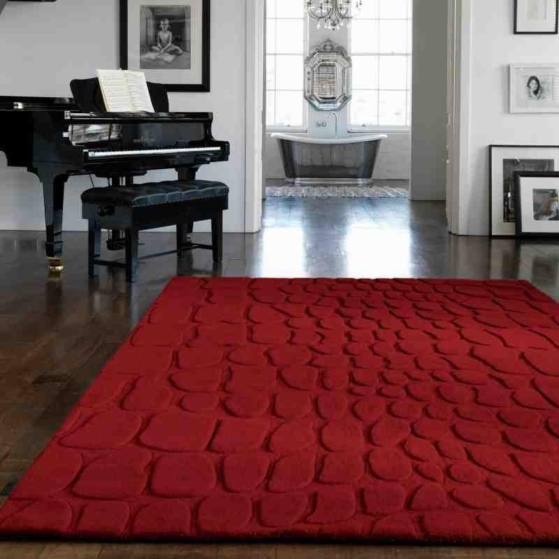 Carpet moderno tinta unita Croc Red lana