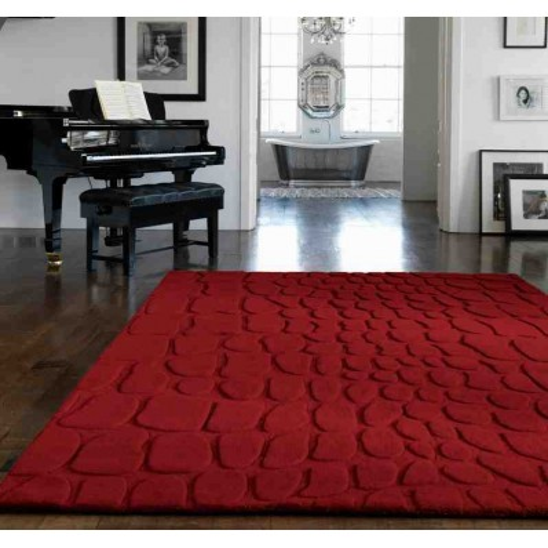 tappeto moderno tinta unita Croc Red lana