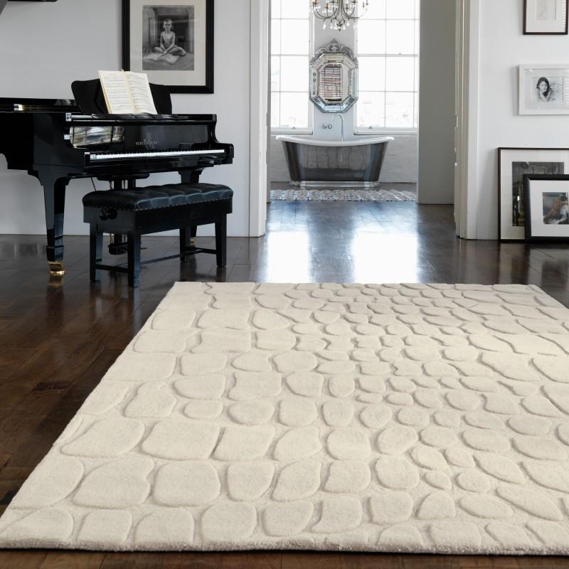 tappeto moderno tinta unita Croc Cream lana
