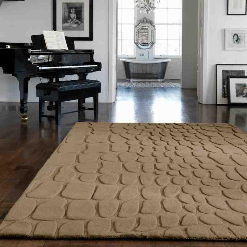 tappeto moderno tinta unita Croc Taupe lana