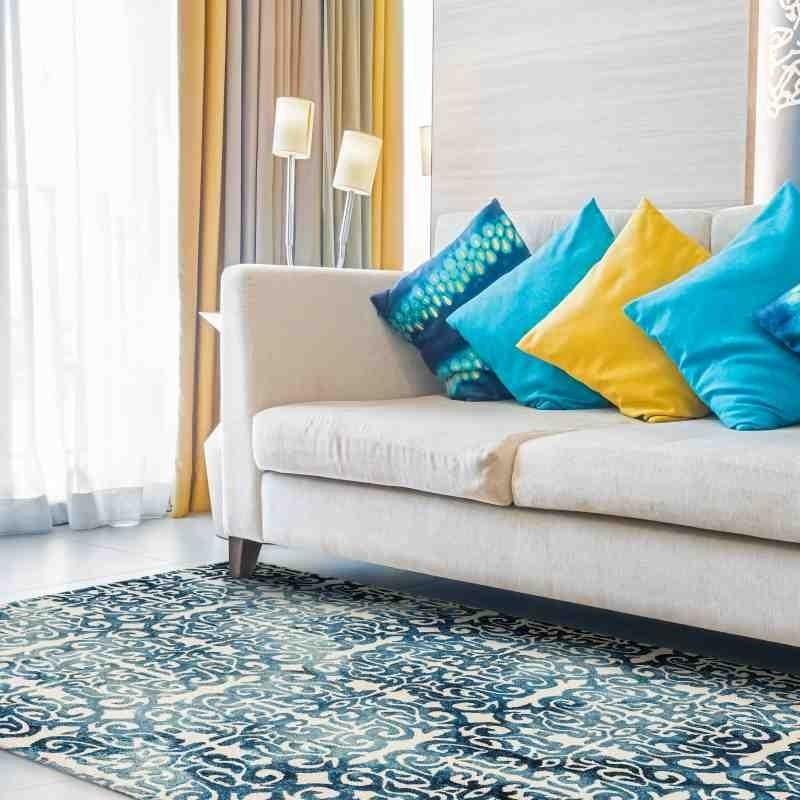 tappeto vintage geometrico Fresco Blue lana