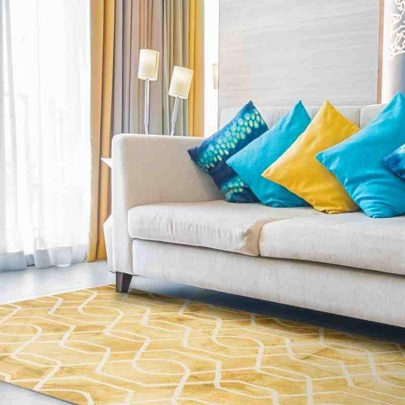 tappeto vintage geometrico Fresco Yellow lana