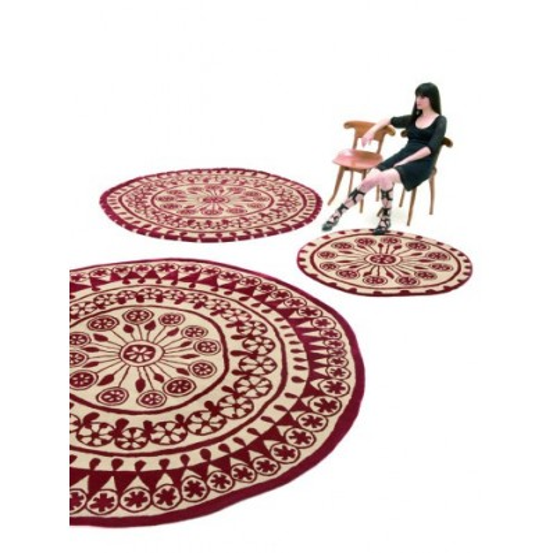Carpet Rangoli Nanimarquina red and white rotondo