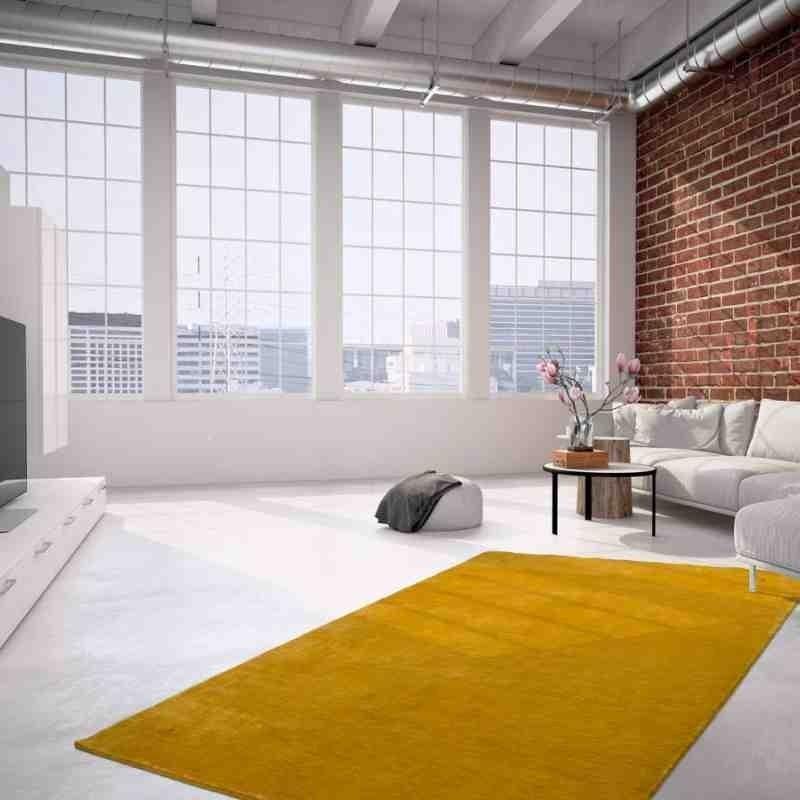tappeto moderno tinta unita belize belmopan giallo lana
