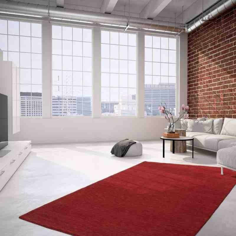 tappeto moderno tinta unita belize belmopan rosso lana